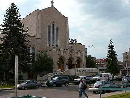 St. Joseph's Basilica is the only basilica in Western Canada. In 2011, 26.2 percent of residents of Edmonton identified as Catholic. St Joseph s Basillica Compressed.jpg