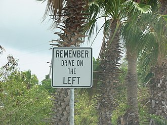 Transportation in the United States Virgin Islands - A street sign reminding drivers to drive on the left.