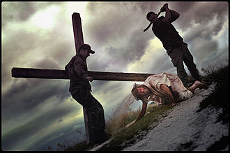 Crucifixion in the arts - Jesus Falls the Third Time, a photographic performance by Łukasz Jankowski-Wojtczak, 2011