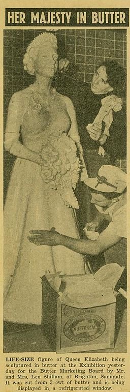 StateLibQld 2 230996 Kath and Len Shillam modelling a sculpture of Queen Elizabeth II in butter, Brisbane, 1954