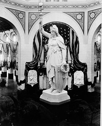 """Inauguration of James A. Garfield - The """"Statue of America"""" in the rotunda of the Arts and Industries Building."""