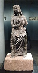 Statue of Isis enthroned, holding the child Horus (Isis lactans)