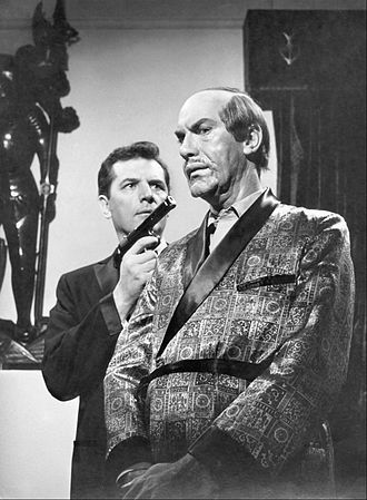 Mission: Impossible - Steven Hill, as Dan Briggs, and Martin Landau, as the target his regular agent character Rollin Hand will impersonate, in the premiere episode, September 17, 1966.