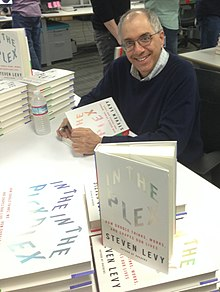 "Steven Levy signing copies of his book, ""In The Plex"" at Next Labs in Palo Alto, California, February 2014"