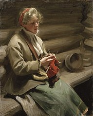 Dalecarlian Girl Knitting. Cabbage Margit