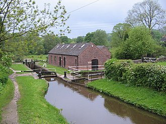 Caldon Canal - The canal at Top Lock on the Stockton Brook flight