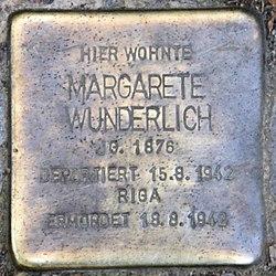 Photo of Margarete Wunderlich brass plaque