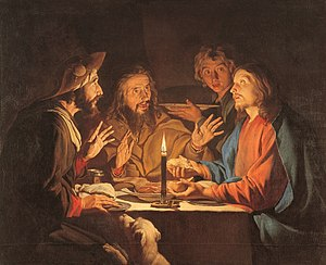 "Post-Resurrection appearances of Jesus - Supper at Emmaus by Matthias Stom, c 1633–1639. The ""breaking of bread"" is the precise moment of the disciples' recognition that they are in the presence of the risen Christ"