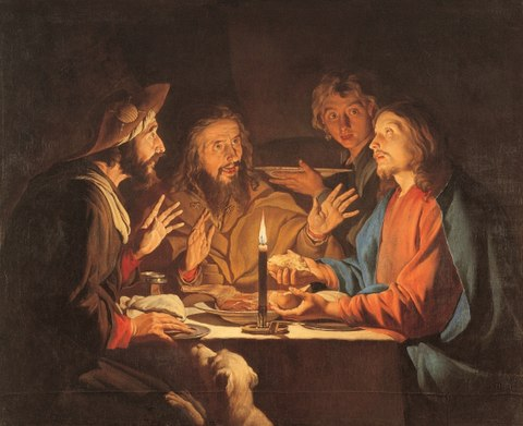 "Supper at Emmaus by Matthias Stom, c 1633-1639. The ""breaking of bread"" is the precise moment of the disciples' recognition that they are in the presence of the risen Christ Stom, Matthias - Le repas d'Emmaus.jpg"
