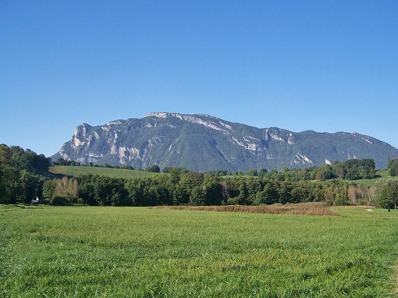 Sight of La Savoyarde (left) and La Roche du Guet (center) mountains, which close the massif des Bauges mountain chain at its very South end, in Savoie, France.