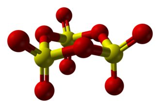 Sulfur trioxide - Image: Sulfur trioxide trimer from xtal 1967 3D balls B