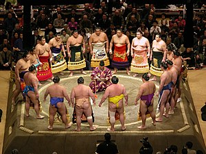 Honbasho - Dohyō-iri at the Aki-Basho 2005