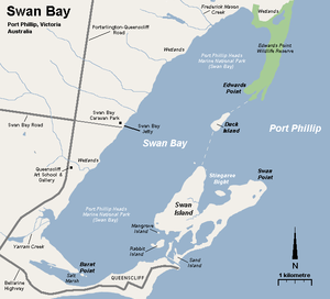 Swan Bay and Port Phillip Bay Islands Important Bird Area - Map of Swan Bay showing the position of Edwards Point with Duck, Swan and Rabbit Islands