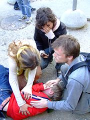 Swedish ISM volunteer Tove Johansson wounded by Israeli settlers in Hebron in November 2006.JPG