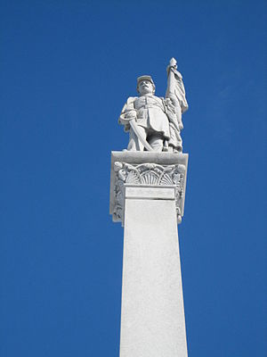 Civil War Memorial (Sycamore, Illinois) - The soldier figure atop the monument's obelisk.