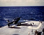 TBM-3W of VS-871 is launched from USS Bataan (CVL-29) c1951.jpg