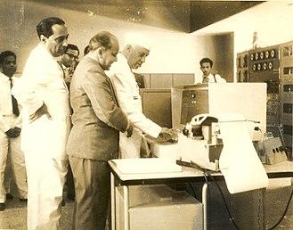 TIFRAC - Professor M.S. Narasimhan demonstrating the first Indian digital computer to Jawaharlal Nehru and Homi J. Bhabha at Tata Institute of Fundamental Research