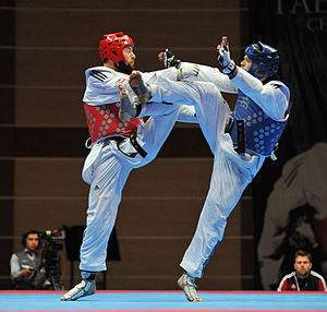 2014 European Taekwondo Championships - Damon Sansum (red) from Great Britain against Aaron Cook (blue) representing Isle of Man in the minus 80 kg men's final.
