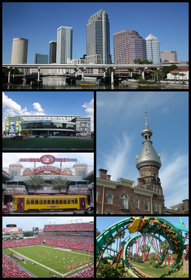 Images from top, left to right: Skyline of Downtown Tampa, Amalie Arena, Ybor City, Henry B. Plant Museum, Raymond James Stadium, and Kumba at Busch Gardens Tampa Bay.