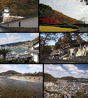 Tatsuno, Hyōgo - Top left:Tatsuno Castle, Top right:Tatsuno Park, left:Tatsuno Castle, Top right:Tatsuno Park, Middle left:Port of Murotsu, Middle right:iinonimasu Amaterasu Shrine, Bottom left:Ibo River, Bottom right:Panorama view of downtown Tatsuno