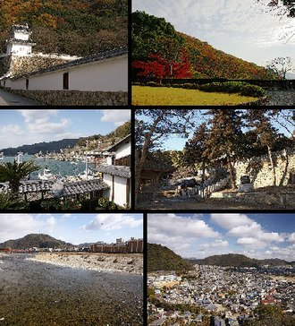 Tatsuno, Hyōgo - Top left:Tatsuno Castle, Top right:Tatsuno Park, left:Tatsuno Castle, Top right:Tatsuno Park, Middle left:Port of Murotsu, Middle right:iinonimasu Amaterasu Shrine, Bottom left:Ibo River, Bottom right:Panorama view of downtown Tatsuno