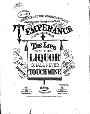 Temperance songs - Image: Temperance song sheet music cover by M.Evans