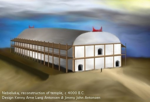 Temple of Nebelivka, Ukraine. reconstruction, c 4000 B.C.