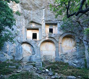 Termessos - Rock cut tombs along main road into Termessos.