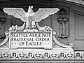 Terracotta ornamentation of the former Eagles Aerie No. 1, Eagles Auditorium Building in Seattle..JPG