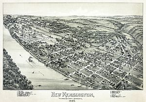 Thaddeus Mortimer Fowler - Fowler's lithographic panoramic map of New Kensington, Pennsylvania in 1896, held in the Library of Congress.