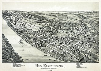 New Kensington, Pennsylvania - New Kensington in 1896, seen in a lithograph by Thaddeus Mortimer Fowler