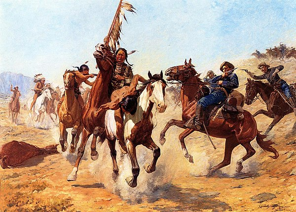 This painting depicts the speed and violence of an encounter between the U.S. cavalry and Plains Indians. The-Silenced-War-Whoop-1100x790.jpg