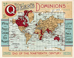 map of the british empire under queen victoria at the end of the nineteenth century dominions refers to all territories belonging to the crown