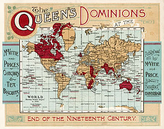 "Dominion - Map of the British Empire under Queen Victoria at the end of the nineteenth century. ""Dominions"" refers to all territories belonging to the Crown."