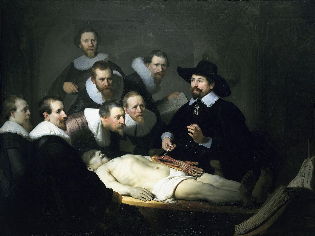 Leçon d'anatomie de Rembrandt peinte dans le Waag d'Amsterdam.