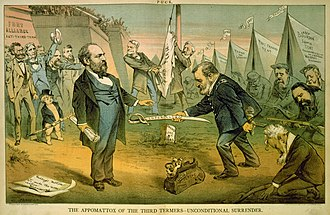 A cartoon. Grant, on the right, is semi-kneeling while others kneel behind him. Garfield stands upright and receives a sword from Grant. Behind him are cheering throngs, and two men raise a flag in the background.
