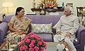 The Chief Minister of Gujarat, Smt. Anandiben Patel calling on the Vice President, Shri Mohd. Hamid Ansari, in New Delhi on June 09, 2014.jpg