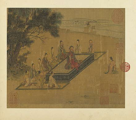 Zengzi (right) kneeling before Confucius (center), as depicted in a painting from the Illustrations of the Classic of Filial Piety, Song dynasty The Classic of Filial Piety (Kai Zong Ming Yi Zhang Hua ).jpg
