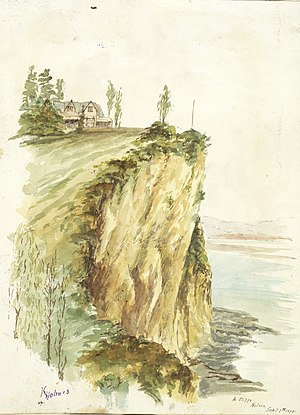 Mathew Richmond - The Cliffs in Nelson, 1878 watercolour, possibly showing Richmond's house