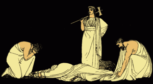Oresteia - The murder of Agamemnon, from an 1879 illustration from Stories from the Greek Tragedians by Alfred Church