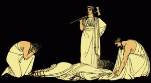 L'uccisione di Agamennone, da una illustrazione del 1879 per Stories from the Greek Tragedians di Alfred Church. Dopo un viaggio tempestoso, Agamennone e Cassandra sbarcarono in Argolide o vennero spinti fuori rotta e sbarcarono nella terra di Egisto. Egisto, che nel frattempo aveva sedotto Clitennestra, lo invitò ad un banchetto durante il quale venne ucciso. Secondo il resoconto dato da Pindaro e dai tragici, Agamennone venne ucciso dalla moglie mentre era solo nel bagno, dopo che un telo o una rete vennero gettati su di lui per impedirne la resistenza. Clitennestra uccise anche Cassandra. La sua ira per il sacrificio di Ifigenia e la gelosia per Cassandra, si narra, furono i motivi del crimine. Egisto e Clitennestra quindi governarono il regno di Micene per un periodo, ma l'assassinio venne vendicato sette anni dopo dal figlio Oreste.