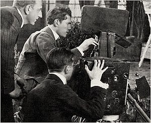 Lucien Andriot - Lucien Andriot at the camera, with director Maurice Tourneur at left and John van den Broek at the second camera below, shooting The Poor Little Rich Girl (1917)
