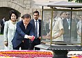 The President of the Republic of South Korea, Mr. Moon Jae-in paying floral tributes at the Samadhi of Mahatma Gandhi, at Rajghat, in Delhi on July 10, 2018.JPG
