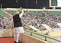 The Prime Minister, Shri Narendra Modi arrives, at Sultan Qaboos Sports Complex in Muscat to address the Indian community, Oman on February 11, 2018 (1).jpg