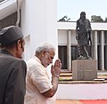 The Prime Minister, Shri Narendra Modi paying homage at the statue of Sri Aurobindo, in Puducherry on February 25, 2018.jpg