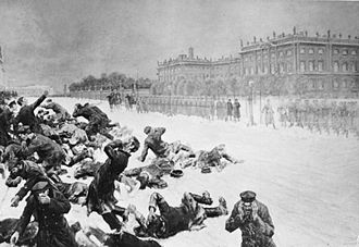1905 Russian Revolution - Artistic impression of Bloody Sunday in St. Petersburg