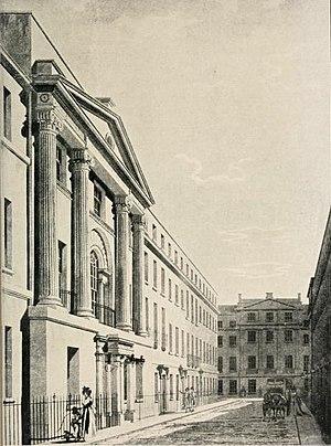 William Shipley - The Society of Arts premises at 18 John Street, Adelphi, London (18c. engraving).