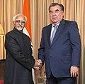 The Vice President, Shri M. Hamid Ansari calling on the President of the Republic of Tajikistan, Mr. Emomali Rahmon, in New Delhi on December 17, 2016.jpg