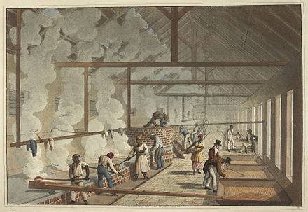 Slaves working in the boiling house, 1823 The boiling house - Ten Views in the Island of Antigua (1823), plate VI - BL.jpg