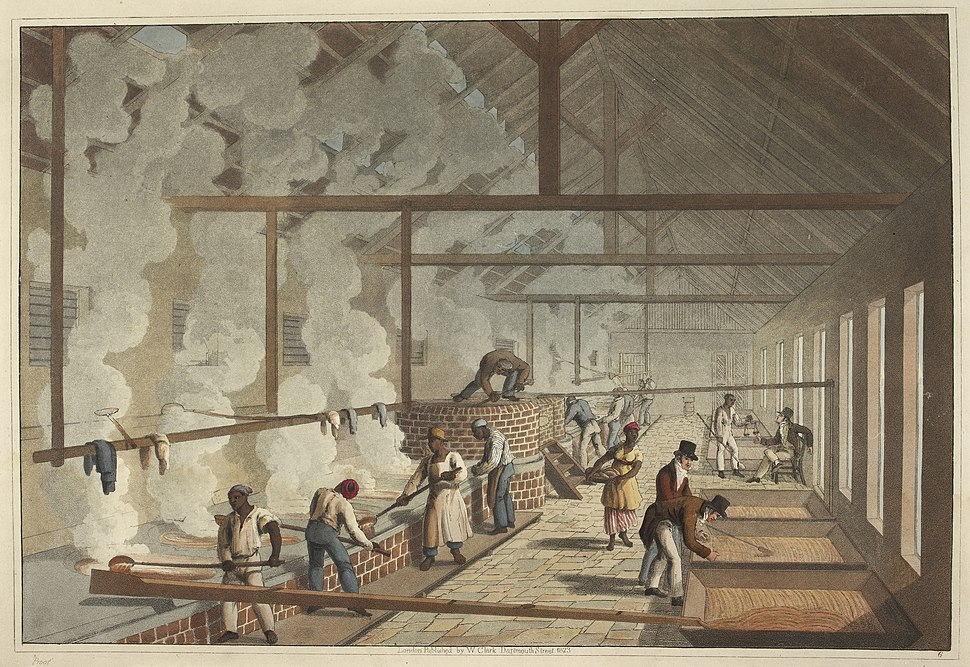 The boiling house - Ten Views in the Island of Antigua (1823), plate VI - BL